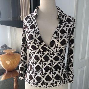 Diane von furstenburg wrap long sleeve top